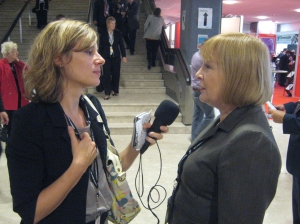 Being interviewed by Swiss French radio
