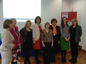 Mary with Emer Costello MEP, Nessa Childers MEP, Joan Burton TD (Irish Minister) on her right, Zita Gurmai MEP and Phil Prendergast MEPon her left